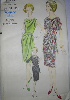Vogue 5434 Dress Draped Bodice & Skirt 60s printed Slim skirt with draped overskirt joins bodice at waist-line.Released dart pleats from left shoulder.Below elbow length sleeves, short sleeves & sleeveless. Sz14/34/26/36 c/c end 10+2.75 obds 10/28/15