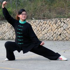 Chinese Cotton Clothes Taichi Uniform Suits Pajamas Black & Green   OrientLegacy - Clothing on ArtFire