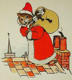 Cat's Cradle: a Picture-book for Little Folk; cats by Louis Wain; rhymes by May Byron by May Clarissa Gillington Byron on Classic Books and Ephemera Christmas Animals, Christmas Cats, Vintage Christmas, Christmas Print, Father Christmas, Merry Christmas, Xmas, Vintage Cat, Vintage Santas