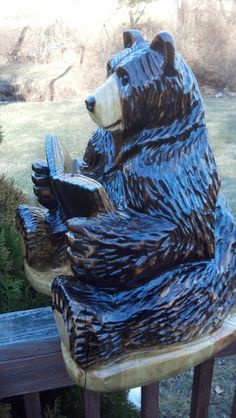 Chainsaw Carving Chainsaw Carved Bear by GearysCustomCarvings, $180.00, If I had extra money and were philanthropic... this would go to the Canmore Library
