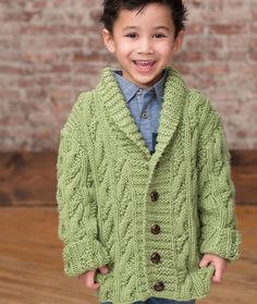 Kid's Cable Cardigan Free Knitting Pattern in Red Heart Yarns