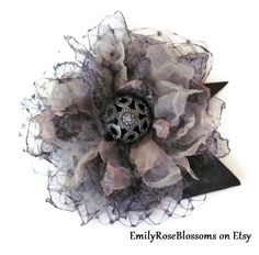 Fabric Flower Hair Clip / Victorian Steampunk by EmilyRoseBlossoms Flower Fabric, Fabric Yarn, Fabric Ribbon, Craft Flowers, Cloth Flowers, Flower Crafts, Victorian Steampunk, Steampunk Diy, Victorian Fabric