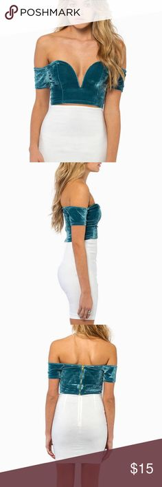 Off the shoulder top Velour material. Blue jade color. Stretchy. Never worn in perfect condition. Tobi Tops Crop Tops