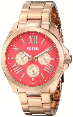 women watches Women's Gold watches store Fossil Women's AM4559 Analog Display Analog Quartz Rose Gold Watch