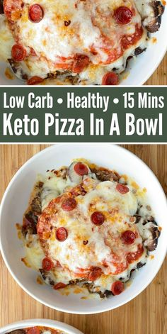 Keto Pizza In A Bowl - Enjoy all the flavors of a pizza neatly served in a bowl, minus the carbs! Easy 15 minute recipe that& kid-friendly and perfect for lunch or dinner! Low Carb Pizza, Low Carb Keto, Low Carb Recipes, Diet Recipes, Cooking Recipes, Healthy Recipes, Pizza Recipes, Recipes Dinner, Healthy Meals