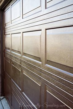 Garage Door Update with Stain! - Closeup on Garage Door Makeover with Stain looks like faux wood - Garage Door Opener, Diy Insulation, Door Makeover, Faux Wood Garage Door, Garage Doors, Garage Decor, Diy Garage Door, Garage Floor Paint, Garage Door Types