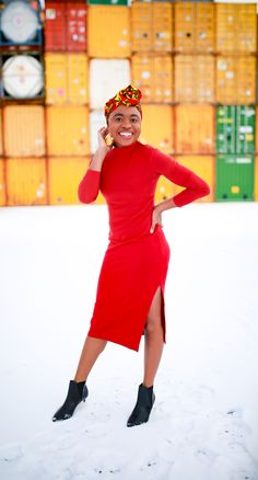 Keep warm and stylish with this chic side slit midi dress paired with croco-embossed ankle boots, affordable earrings, and a fun scarf. African Clothing For Men, African Dresses For Women, African Women, Black Fashion Bloggers, Alaska Fashion, Birthday Outfit For Women, African Print Fashion, Everyday Outfits, Street Style Women