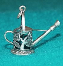 Awesome WATERING CAN Signed Sterling Vintage Estate Charm..