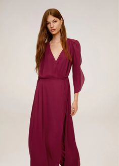 Flared design Flowy fabric Wrap neckline Three quarter sleeve Button fastening on the back section Inner lining Mango Outlet, Hippie Chic, Dress Skirt, Wrap Dress, Flare, Mango France, Gowns Online, Facon, Ideias Fashion