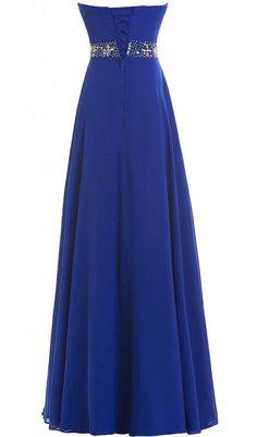 Blue Long A-line Sweetheart Beading Chiffon Prom Dresses 2017