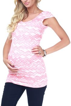 Coral Tribal Print Fitted Maternity Top