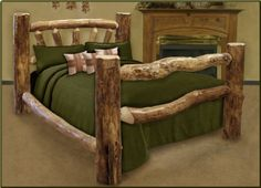King Size Custom Aspen Log Bed - http://www.furniturendecor.com/king-size-custom-aspen-log-bed/ - Related searches: Bedroom Furniture, Beds and Bed Frames, Furniture, Home and Kitchen