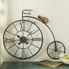 Wall Clock Bicycle Penny Farthing Vintage Look Hanging Clock, Diy Clock, Clock Decor, Unusual Clocks, Cool Clocks, Bicycle Clock, Bicycle Art, Bicycle Design, Pendulum Clock