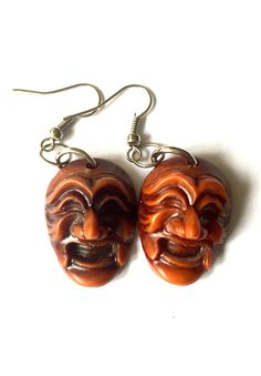 Traditional Korean Mask Earrings by YogiYoAccessories on Etsy Funky Earrings, Drop Earrings, Artisan Jewelry, Masks, Dangles, Korean, Carving, Traditional, Etsy