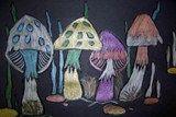 mushrooms. metallic colored pencil on black paper