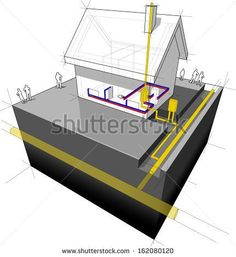 diagram of a detached house with traditional heating: natural gas boiler+radiators (another house diagram from the collection, all have the same point of view/angle/perspective, easy to combine)