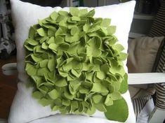 As Seen on ABC'S Good Morning America- Cream and Sage Green Hydrangea Pillow - harperjanssen Cute Pillows, Diy Pillows, Decorative Pillows, Cushions, Green Hydrangea, Hydrangeas, Hydrangea Bloom, Flower Pillow, Ruffle Pillow