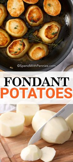 Oven baked Fondant Potatoes are an easy to make, crispy, savory side dish that everyone will love. Fondant Potatoes are cooked in chicken stock and butter until golden crispy on both sides, and seasoned perfectly with thyme, salt & pepper! Wine Recipes, Food Network Recipes, Cooking Recipes, Easy Recipes, Fondant Potatoes, French Appetizers, Pan Fried Salmon, Classic French Dishes, Potato Dinner