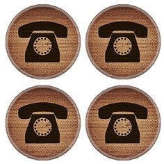 MSD Natural Rubber Round Coasters IMAGE ID 29441590 Retro telephone Flat modern web button and space for your text Vector EPS10