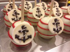 """""""Ahoy, it's a boy!"""" Nautical themed Baby shower cake pops from www.facebook.com/delish.cakepops"""