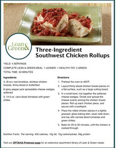 Ww Recipes, Low Calorie Recipes, Clean Recipes, Cooking Recipes, Lean Protein Meals, Lean Meals, Green Chicken Recipe, Veggie Meal Plan