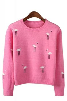 Cranes Embroidery Round Neck Long Sleeve Pullover Sweater