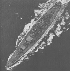 [Photo] Aerial view of USS North Carolina, off the US east coast, 17 Apr 1942, photo 1 of 3 | World War II Database