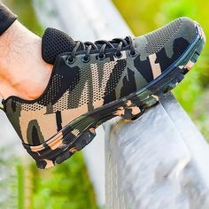 Mens Steel Toe Work Shoes Lace-up Slip-resistant Camouflage Athletic – roarwild Casual Slip On Shoes, Casual Boots, Steel Toe Work Shoes, Best Shoes For Men, Beach Shoes, Fashion Shoes, Camouflage, Label, Ebay