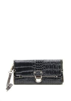 Black Croc Embossed Wristlet - Handbags, Bling & More!