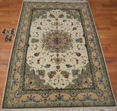 4'x6' Hand-knotted Wool n Silk Oriental Persian Tabriz Area Rug ~New 64