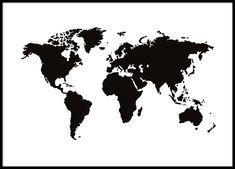 Svartvit tavla / poster med världskarta. Affisch med karta över världen i strl 30x40, 50x70 och 70x100