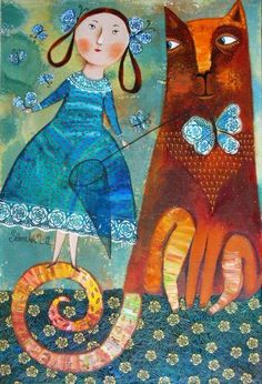 Anna Silivonchik Butterfly net and my kitty She And Her Cat, Image Chat, Naive Art, Whimsical Art, Cat Love, Crazy Cats, Cat Art, Collage Art, Illustrators