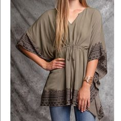 SALEGorgeous Olive Kimono Top Olive come mono top with tribal print. Draped sleeve. Draw String. Very Flattering! Tops Blouses