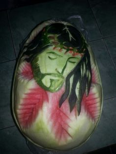 Face Jesus carved watermelon.