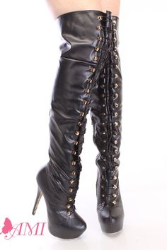 You will be head over heels for these saucy little numbers! They will perfectly compliment any outfit for any occasion! Make sure to add these to your collection, they definitely are a must have! The features for these thigh high boots include a faux leather upper with a hook and loop lace up front, stitched almond shaped closed toe, inner side zipper closure, leopard print soles, smooth lining, and cushioned footbed. Approximately 6 inch heels, 2 inch hidden platforms, 16 inch ...