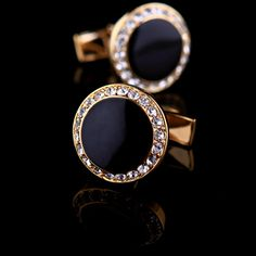 Black Enamel Centered Cufflinks