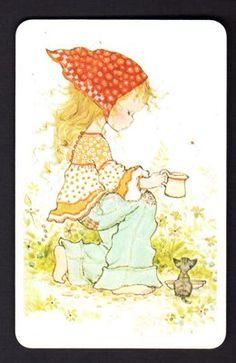 SARAH KAY Swap Card - Girl with Milk for Kitten (BLANK BACK)