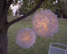 DIY Pom Pom Light Made From Trash
