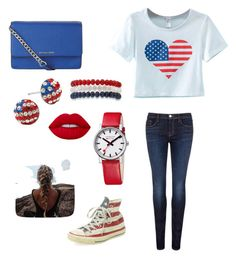 """""""'Merica (America Chic Outfit)"""" by kk-hoffman ❤ liked on Polyvore featuring Chicnova Fashion, J Brand, Converse, MICHAEL Michael Kors, Kim Rogers, Mondaine and Lime Crime"""