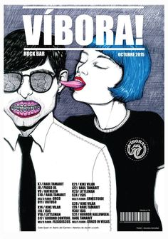 #tongue #inspiration #zombie #viper #poster #magazine #rockbar #vibora #bluehair #punk #illustration #azucenagonzalez