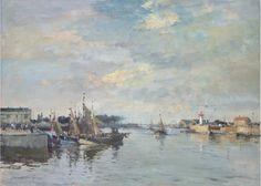Edward Seago - Fishing Boats, Honfleur