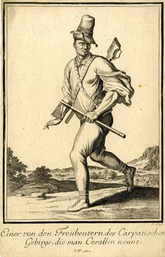 """67 A Freebooter from the Carpathian mountains. Hungarian Illustration from: Abraham a Sancta Clara's """"Neu-eröffnete Welt-Galleria"""" Prints from drawings by Caspar Luyken. Engraved & Published by Christoph Weigel (Nuremberg:"""