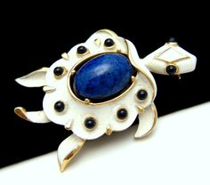 Vintage Crown Trifari Brooch White Turtle Blue Beads Cabochon | eBay
