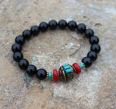 Black Agate Turquoise Red coral Tibetan bead bracelet | www.etsy.com/shop/NaturalGemstonesArt?ref=seller-platform-mcnav Here a lot of interesting! | Protection bracelet | Yoga bracelet | Evil eye bracelet | Buddhist bracelet | Womens wrist mala