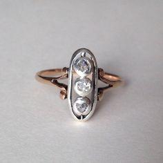 Victorian Rose Cut Gold Diamond Ring - DecemberAnchor on Etsy