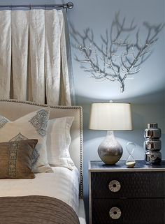 Gorgeous, contemporary master bedroom design in soothing tones of gray blue, espresso and ivory.From 1 of 10 projects by Lugbill design, discovered on Porch.com