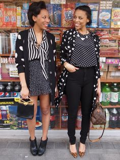 From: Girlsofffifth--love the pattern clashing, especially on the lady on the right (bonus points for leopard print shoes!).