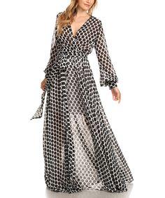 Look at this Karen T. Design Black & White Polka Dot Tie-Waist Surplice Dress - Plus Too on #zulily today!