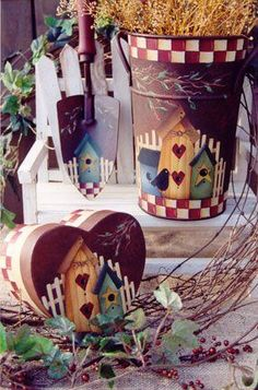 pretty painted little birdhouses...inspiration only