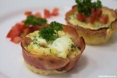 Ein Rezept für Eier-Schinken-Muffins, mit saurer Sahne, Milch, Cheddar, Petersilie. Sehr lecker Frühstück und sogar noch Low Carb geeignet.